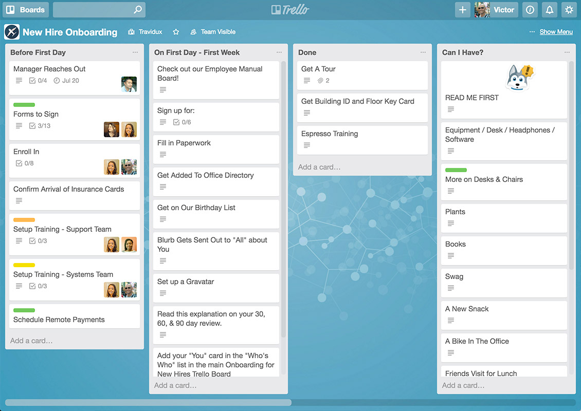 Interface de Trello